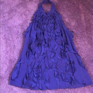 Silk BCBG purple low back ruffled halter top -L